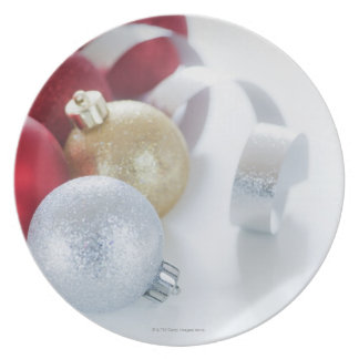 Studio shot of Christmas ornaments Party Plates
