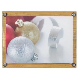 Studio shot of Christmas ornaments Rectangular Cheeseboard
