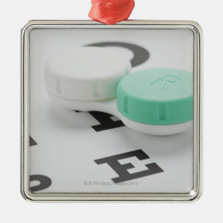 Studio shot of contact lens case on eye chart Silver-Colored square decoration