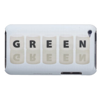 Studio shot of dice spelling out green barely there iPod covers