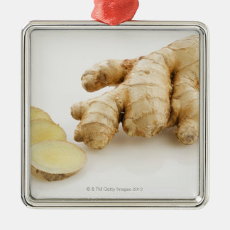 Studio shot of fresh ginger Silver-Colored square decoration
