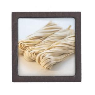 Studio shot of fresh linguini pasta keepsake box