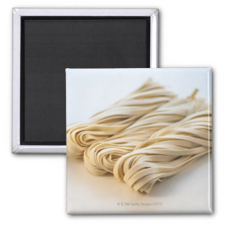 Studio shot of fresh linguini pasta square magnet