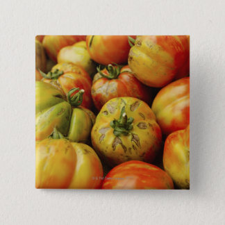 Studio shot of heirloom tomatoes 15 cm square badge