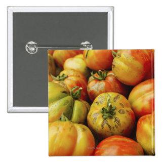 Studio shot of heirloom tomatoes 15 cm square badge