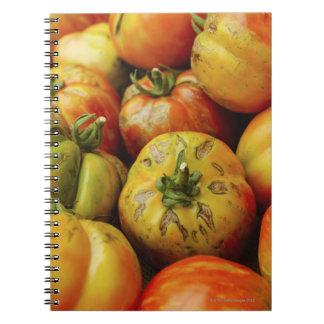 Studio shot of heirloom tomatoes spiral notebook