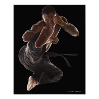 Studio shot of martial arts practitioner in poster