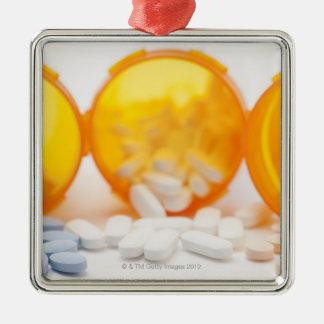 Studio shot of medicine bottle with pills ornament