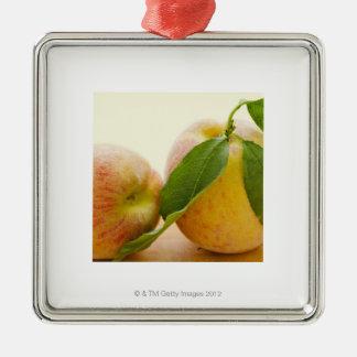 Studio shot of peaches Silver-Colored square decoration