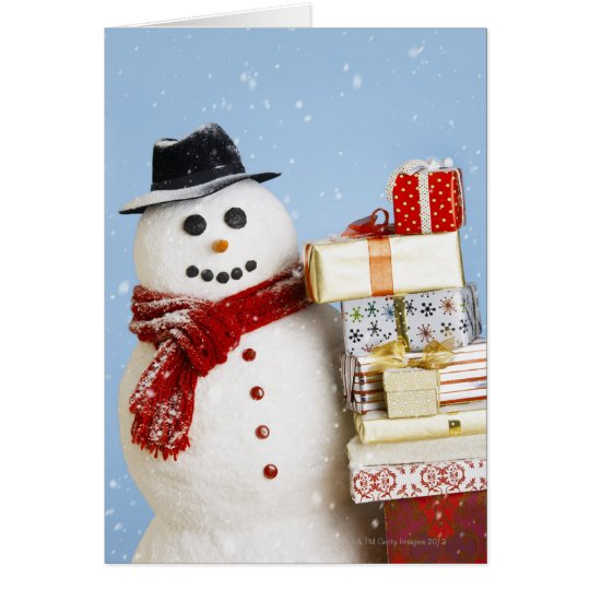 Studio shot of snowman with Christmas presents Card