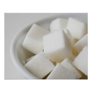 Studio shot of sugar cubes in bowl poster