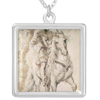 Study for an equestrian portrait silver plated necklace
