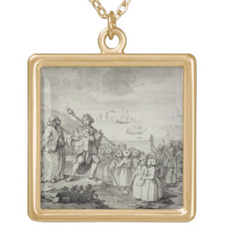 Study for the Foundlings (pen, ink & wash on paper Square Pendant Necklace