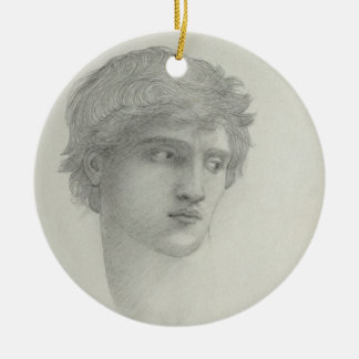 Study for the Head of Perseus (pencil on paper) Round Ceramic Decoration