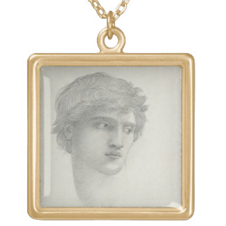 Study for the Head of Perseus (pencil on paper) Square Pendant Necklace