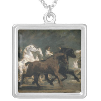 Study for the Horsemarket, 1900 Square Pendant Necklace