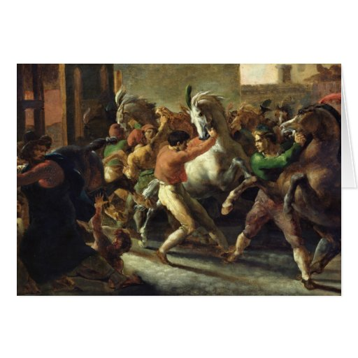 Study for the Race of the Barbarian Horses, 1817 Card