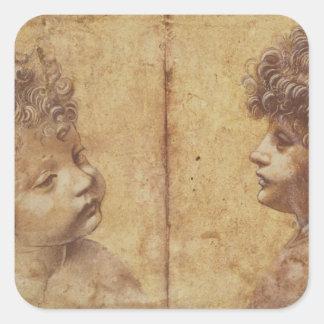 Study of a child's head square sticker