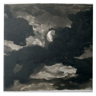 Study of a Clouded Moonlit Sky (black wash on laid Tile