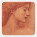 Study of a Female Head, Edward Burne-Jones Square Stickers