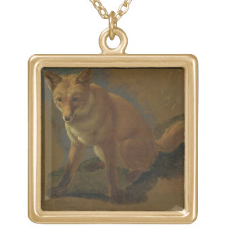 Study of a Fox (oil on panel) Gold Plated Necklace