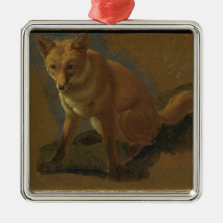 Study of a Fox (oil on panel) Silver-Colored Square Decoration