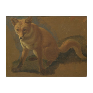 Study of a Fox (oil on panel) Wood Print