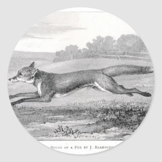 Study of a Fox Round Sticker
