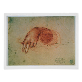 Study of a hand (red chalk on paper) poster