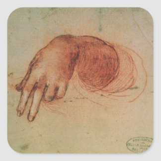 Study of a hand red chalk on paper square stickers