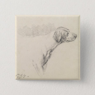 Study of a Hound, 1794 (pencil on paper) 15 Cm Square Badge