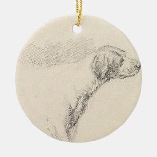 Study of a Hound, 1794 (pencil on paper) Round Ceramic Decoration