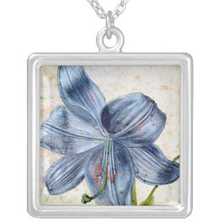 Study of a lily, 1526 silver plated necklace