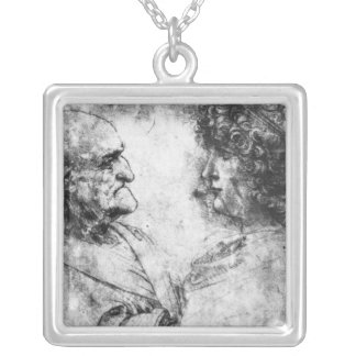 Study of a 'nutcracker' man and beautiful silver plated necklace