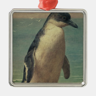 Study of a Penguin Silver-Colored Square Decoration