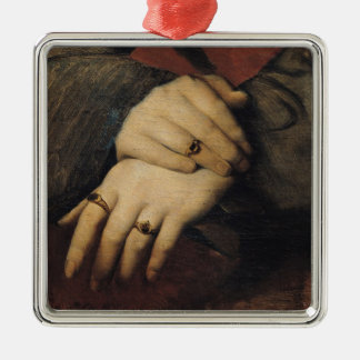 Study of a Woman's Hands Silver-Colored Square Decoration