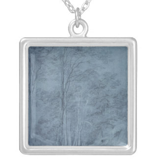 Study of ash and other trees silver plated necklace