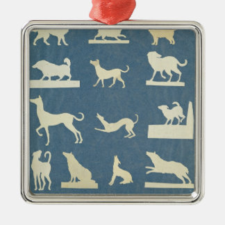 Study of Dogs Silver-Colored Square Decoration
