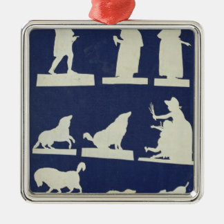 Study of Figures and Animals Silver-Colored Square Decoration