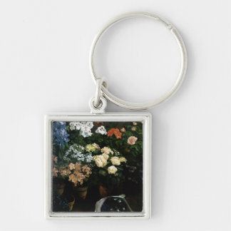 Study of Flowers by Frederic Bazille Silver-Colored Square Key Ring