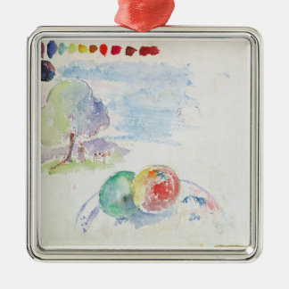 Study of Fruits and a Landscape, 1892 (w/c on pape Silver-Colored Square Decoration