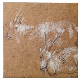 Study of Goats (drawing) Large Square Tile