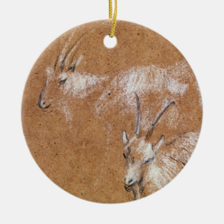 Study of Goats (drawing) Round Ceramic Decoration
