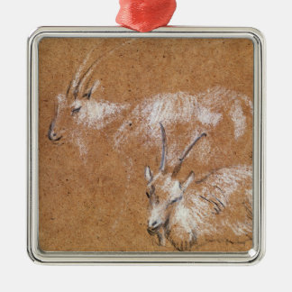 Study of Goats (drawing) Silver-Colored Square Decoration