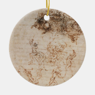 Study of Horsemen in Combat and Foot Soldiers, 150 Round Ceramic Decoration