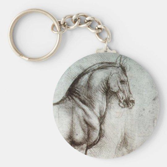 Study of Horses Basic Round Button Key Ring