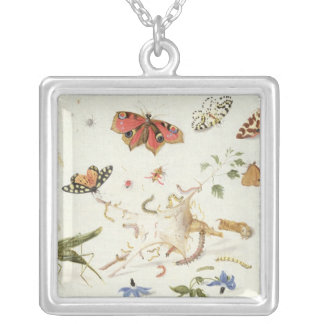 Study of Insects and Flowers Silver Plated Necklace