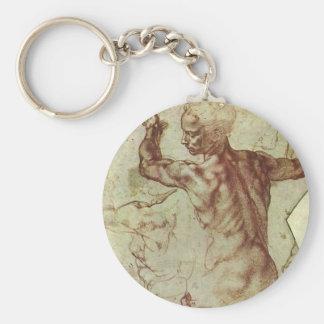 Study of Libyan Sibyl by Michelangelo Basic Round Button Key Ring