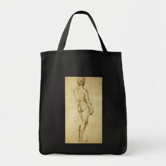 Study of Michelangelo's David Statue by Raphael Grocery Tote Bag