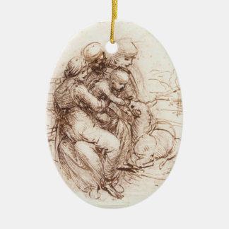 Study of St Anna, St John, Mary, Christ Child Christmas Ornament